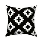 Boho Tribal Monochrome Throw Pillow Cover w Optional Insert by Roostery