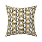 Butterflies Nature White Black Throw Pillow Cover w Optional Insert by Roostery