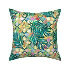 Tropical Moroccan Tiles Throw Pillow Cover w Optional Insert by Roostery