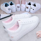 Women Girls Breathable Comfy Flat PU Leather Sneakers Lace-Up Casual Soft Shoes