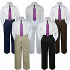 3pc Eggplant Tie Shirt Suit for Baby Boy Toddler Kid Pants Color by Selection