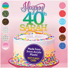 PERSONALISED 18th 21st 30th 40th Birthday Name Cake Topper Decoration ANY AGE