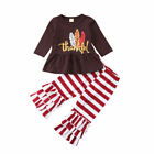 Newborn Toddler Infant Kids Baby Boy Girl Thanksgiving Clothes Romper Tops+Pants