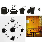 BLACK HANGING MODERN CLOCK 12 MULTI PHOTO FAMILY PICTURE FRAME & TIME WALL CLOCK