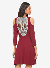 Skull Dress Fit and Flare Skirt Cold Shoulder Long Sleeved Bergundy XS - 3X NEW!