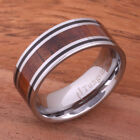 Koa Wood Tungsten Ring with Two Lines Mens Wedding Ring 8mm with Free Gift Box image
