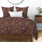 Ottoman Turkish Damask Persian Victorian Red Sateen Duvet Cover by Roostery image
