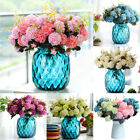 10 Heads Artificial Hydrangea Silk Flower Bouquet Home Wedding Decor Floral Us