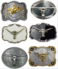 3D Bull Belt Buckle Western Cowboy Grey Silver Gold Rodeo Top Quality