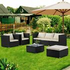 6PC Rattan Wicker Patio Furniture Set Sectional Sofa Couch Yard W/Gray Cushion