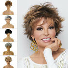 Stylish Ombre Blonde Black Boycut Short Wavy Curly Wigs For Women Ladies Cosplay