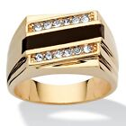 Men's Genuine Onyx Crystal Accent 14k Gold-Plated Classic Ring