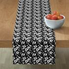Table Runner Floral Silhouette Flowers Foliage Black & White Cotton Sateen