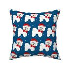 Christmas Bichon Frise Throw Pillow Cover w Optional Insert by Roostery