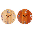 12inch Round Wooden Office Battery Operated Non Ticking Wall Clock Rustic Silent