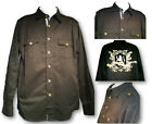 Hama Mens Button Front Black Shirts With Back Logo Print