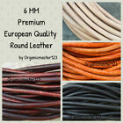6mm Premium Genuine Round Leather Cord By The Yard DIY Craft Jewelry Supplies