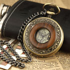 Vintage Wood Grain Hollow Hand wind Up Mechanical Pocket Watch Steampunk W/Chain