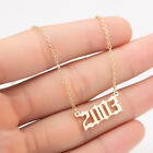 Top Holiday Gifts 1PC Stainless Steel Birth Year Number Pendant Necklace Jewelry Gift Women Girls