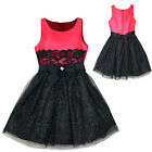 Girl Pageant flower Bridesmaid Evening Ball Formal Party Red Dress sz 4-16 years