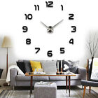 3D DIY Large Wall Clock Frameless Mirror Number Sticker Decal Living Room Decor