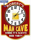 Personalized Man Cave Beer Thirty Wall Clock from Redeye Laserworks
