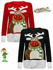 Women Unisex XMAS 3D Rudolph Nose Ladies Jumper With LED Flashing Lights Top NEW