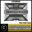 2019-20 UPPER DECK BUYBACKS HOCKEY 5 BOX FULL CASE BREAK #H571 - PICK YOUR TEAM $16.0 CAD on eBay