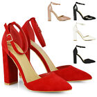 Womens High Block Heel Sandals Ladies Ankle Strap Pointy Party Evening Shoes
