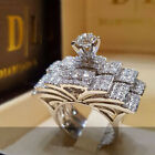 New Women Engagement Wedding Ring Set 925 Saphhire Silver Ring Jewelry Sz.5-11