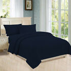 Flat, Fitted, Button Closure Duvet Cover, Pillowcases 800 TC Navy Blue Stripe image