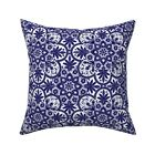 Vintage Blue Tile Modern Decor Throw Pillow Cover w Optional Insert by Roostery