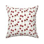 Cherries Fruit Watercolor Red Throw Pillow Cover w Optional Insert by Roostery