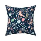 Unicorn Floral Cute Magic Throw Pillow Cover w Optional Insert by Roostery