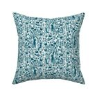 Spring Garden Rabbit Teal Throw Pillow Cover w Optional Insert by Roostery