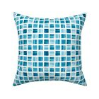 Blue Marine Tile Grid Aqua Throw Pillow Cover w Optional Insert by Roostery