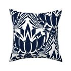 Dark Blue Lotus Flower Large Throw Pillow Cover w Optional Insert by Roostery