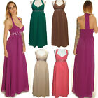 LONG CHIFFON HALTER NECK EVENING BRIDESMAID DRESS PROM WEDDING PARTY