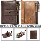 Vintage Mens Women Wallet Genuine Leather RFID Double Zipper Coin Pocket Purse image