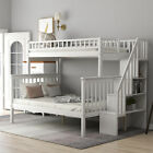 Twin Over Full Bunk Beds Kids Adult Wood Loft Bunk bed with storage for Bedroom