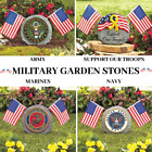 Patriotic Military Garden Stone Army Navy Marines Support Our Troops Flag Porch