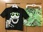 New Carter's Dinosaur Rash Guard Shirt Trunk Shorts Swim 2pc Set UPF 50 2T