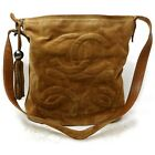 Chanel Shoulder Bag Triple coco Browns Suede Leather 905312