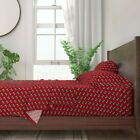American Football Team Sports Game Red 100% Cotton Sateen Sheet Set by Roostery image