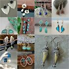 Woman Moonstone Turquoise 925 Silver Ear Hook Stud Dangle Drop Earrings Jewelry image