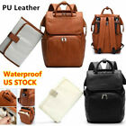Внешний вид - Brown Faux Leather PU Mummy Diaper Backpack Baby Nappy Travel Bag Changing Pad