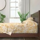 Leaves Watercolor Tropical Palm Bamboo 100% Cotton Sateen Sheet Set by Roostery image