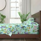 Teal Chinoiserie Spring Floral Bamboo 100% Cotton Sateen Sheet Set by Roostery image
