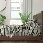 Buildings Modern Homes Sketching Houses 100% Cotton Sateen Sheet Set by Roostery image