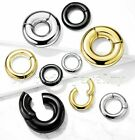 PAIR Large Gauge Hinged Clicker Segment Ring PVD Surgical Steel Earrings Septum image